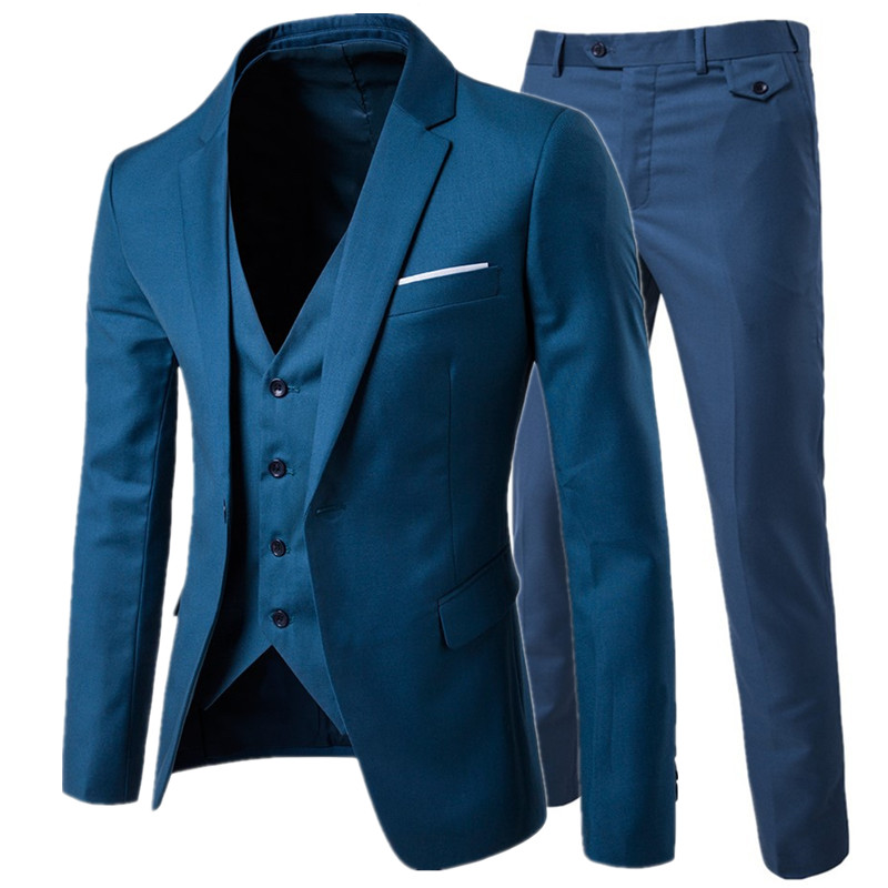 suit + vest + pants 3 pieces sets / Men's one buckle and two button business suits blazers jacket coat + trousers +waistcoat
