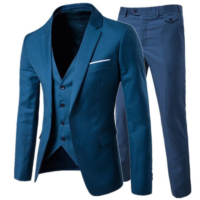 suit + vest + pants 3 pieces sets / Men's  one buckle and two button business suits blazers jacket coat + trousers +waistcoat