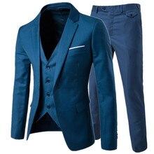 Костюм + жилет брюки для девочек комплекты из 3 предметов/для мужчин одна пряжка и две кнопки бизнес Костюмы Блейзер Куртка пальто