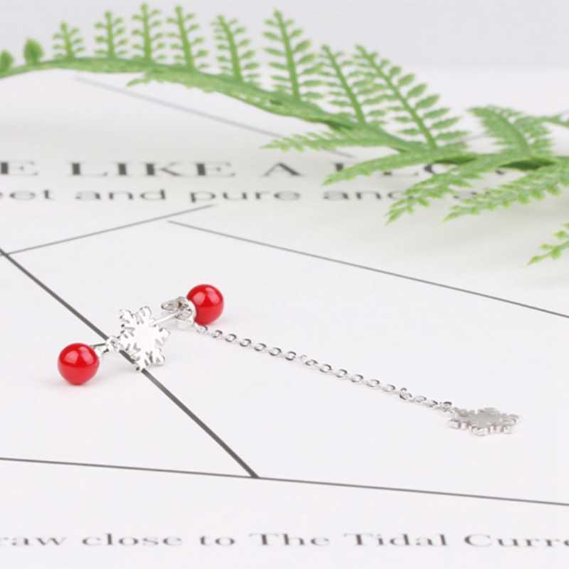 Charms śnieg dynda kolczyk biżuteria czerwone koraliki spadek kolczyki dla kobiet Bijoux Hot moda damska prezent bożonarodzeniowy dla dziewczyny