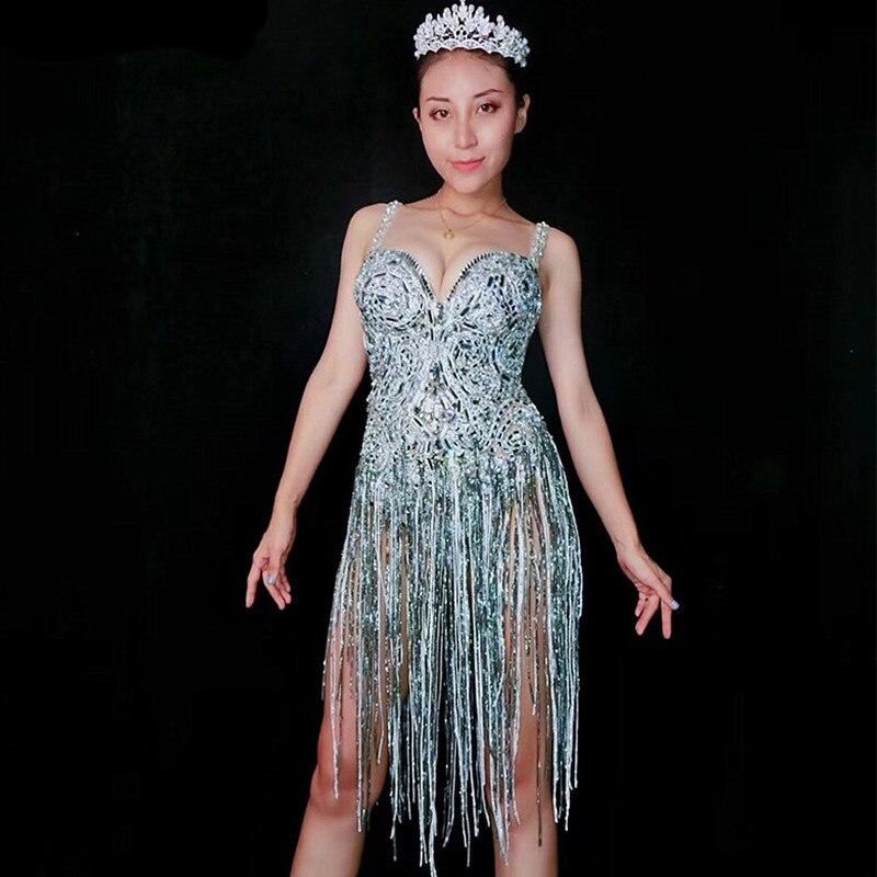 Sparkly Glass Stones Bodysuit Sexy Rhinestones Tassels Halter Catsuit Nightclub Women Singer Dance Costume Models Catwalk Outfit