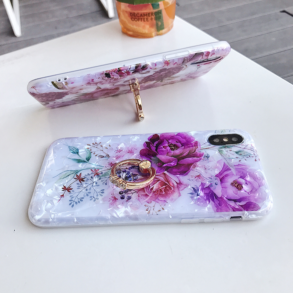 LOVECOM Retro Floral Ring Stand Phone Case For iPhone Models 42