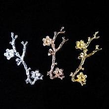 50 шт. цветок ветка с листьями сплав металла Аксессуары Брошь Шпилька зажим для волос Пряжка кнопка Декор одежда, сумки, обувь украшение