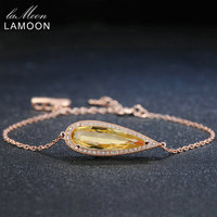 Lamoon Teardrop Luxury 100 Natural Yellow Citrine 925 Sterling Silver Jewelry Rose Gold Chain Charm Bracelet