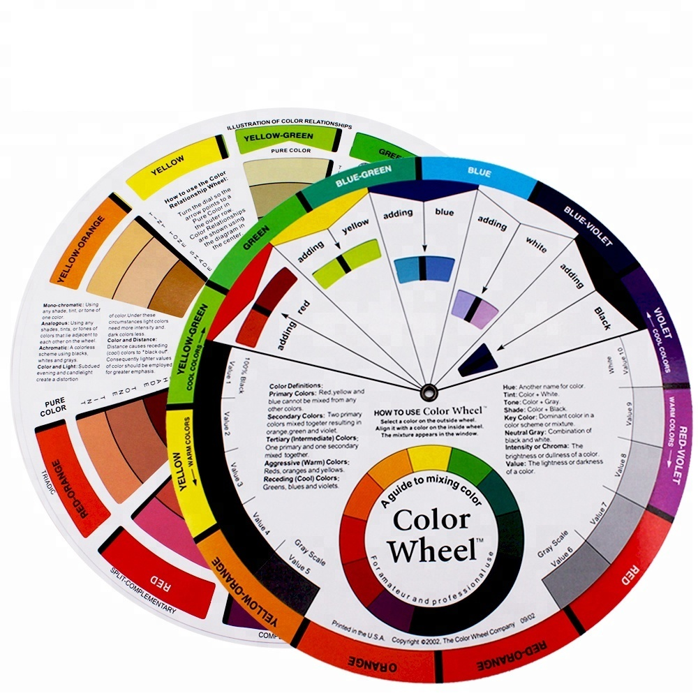 Professional Tattoo Nail Pigment 12 Color Wheel Paper Card Supplies Three-tier Design Mix Guide Around The Central Circle Rotate