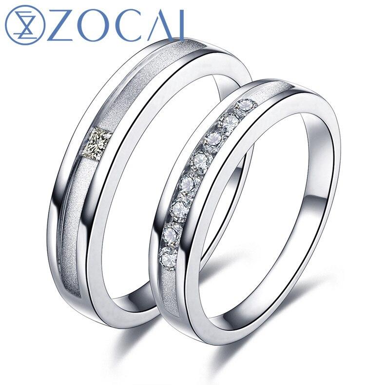ZOCAI real diamond 18K white gold wedding bands 0.18 ct women ring & 0.05 ct men ring Q00441AB