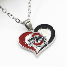 6pcs OHIO STATE Heart Necklace NCAA Sport Necklace Pendant Charms with 50cm Chains Necklace Jewelry