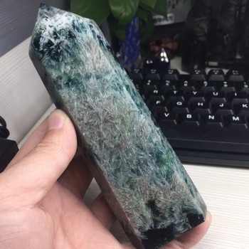 464g Natural Fluorite Crystal Colorful Striped Fluorite White Feather Fluorite Crystal Stone Point Healing Hexagonal Treatment