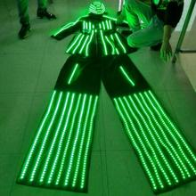 High Quality LED Women Stilts Walker Costumes With Helmet / Lady Luminous suit for Stage Performance & Music Club
