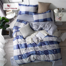 Slowdream Geometry Bedding Set Double Bed Flat Sheet Plain Blue Bedclothes Duvet Cover Set Double Queen Bedspread Bed Linen Set bedding set double tango 684 50
