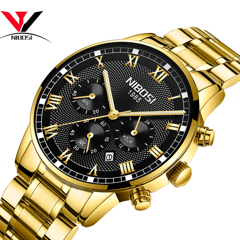 Relogio Masculino NIBOSI Mens Watches Top Brand Luxury Waterproof Stainless Steel Male Clock Dress Famous Business Watch Men2018-in Quartz Watches from Watches