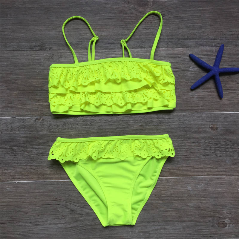 7-16years children swimwear falbala girls swimwear baby kids biquini infantil swimsuit bikini girl 2019 New summer bathing suit