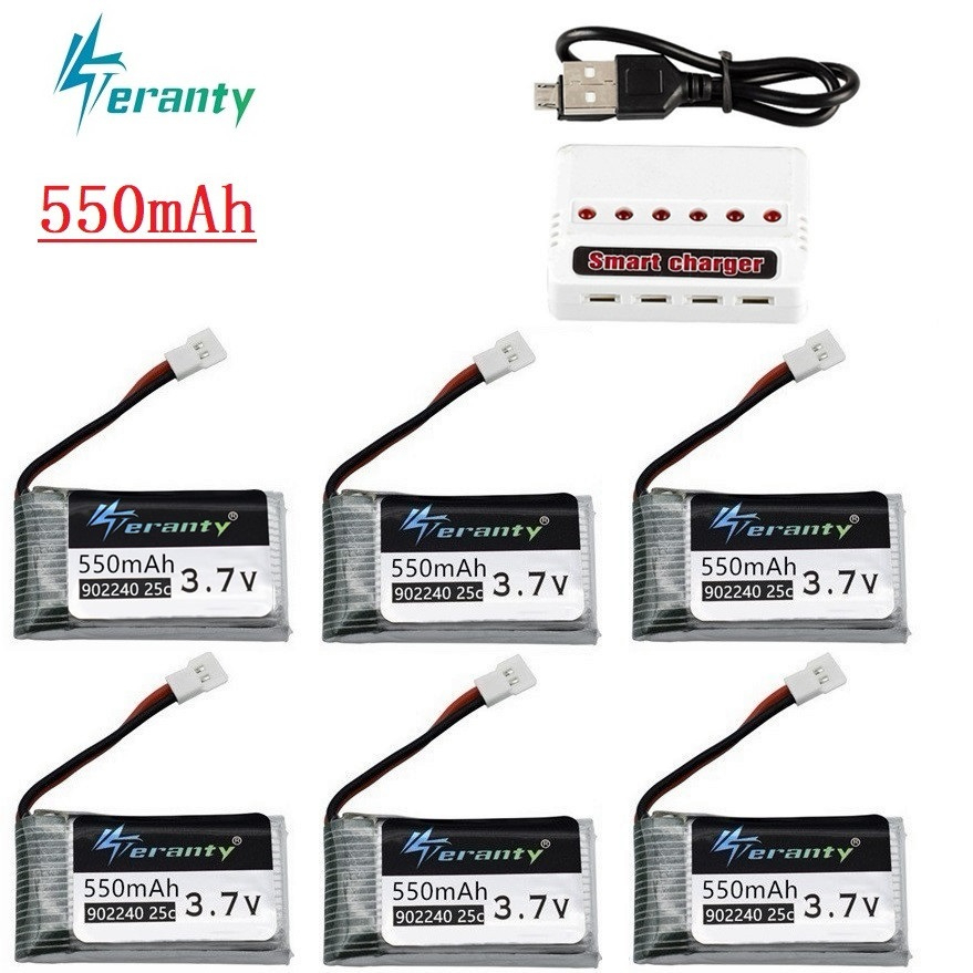 <font><b>3.7V</b></font> <font><b>550mAh</b></font> Lipo <font><b>Battery</b></font> Charger sets for JXD 523 523W H43WH UFO Helicopters RC Quadcopter Spare Parts 902240 <font><b>3.7v</b></font> Drone <font><b>battery</b></font> image