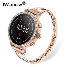 Bracelet de montre en acier inoxydable + diamant 18mm, pour femmes Fossil Gen 4 Venture HR / Gen 3 Q, ceinture bracelet or Rose bracelet de montre