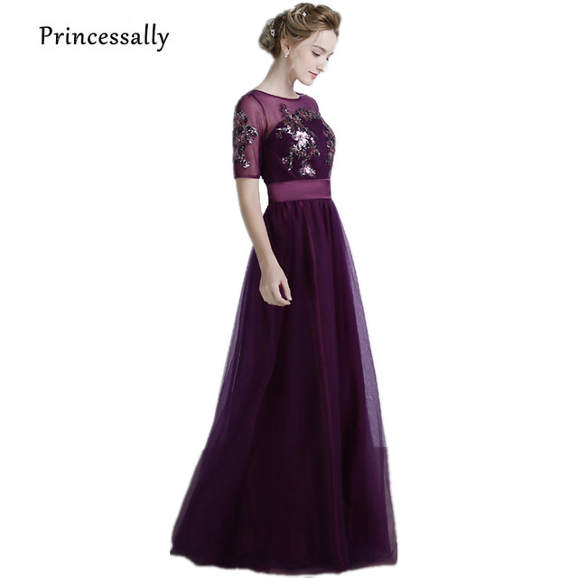 Dark Purple Dress For Bridesmaid With Sleeve Sheer Neck Sequin ...