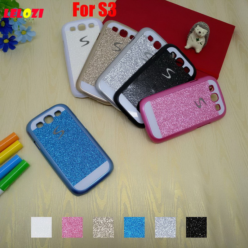LELOZI Bling Shinning Glitter Hard PC Lady Capinha Etui Case Cover Cove Coque For Samsung Galaxy S3 S 3 Black White Pretty Blue