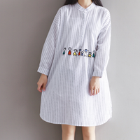 KYMAKUTU Fashion Women Clothing Embroidery Linen Dress Striped Loose Robe Femme All Match Autumn Shirts Dresses