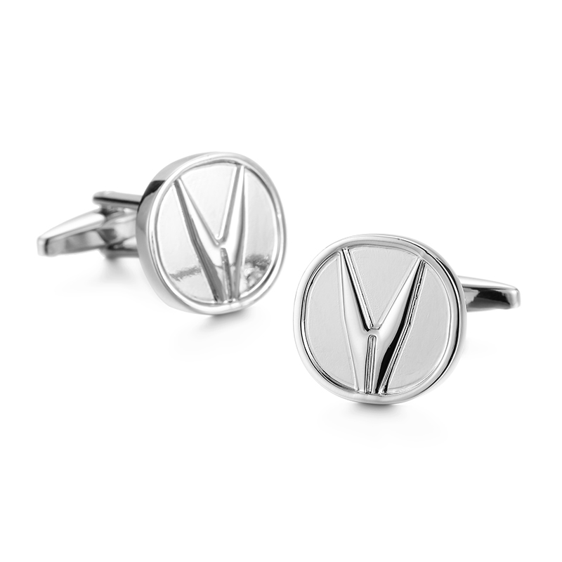 DY A set of New Mens French Cufflinks black leather box set the fashion brand silver car logo Cufflinks Gift Set FREE SHIPPING