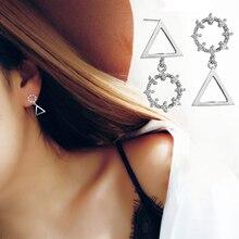 Fashion Silver Color Cubic Zirconia Asymmetric Triangle Drop Earrings Simple Geometric Round Dangle Earrings For Women Girls рюкзак wenger 3053344402 серый синий 14л