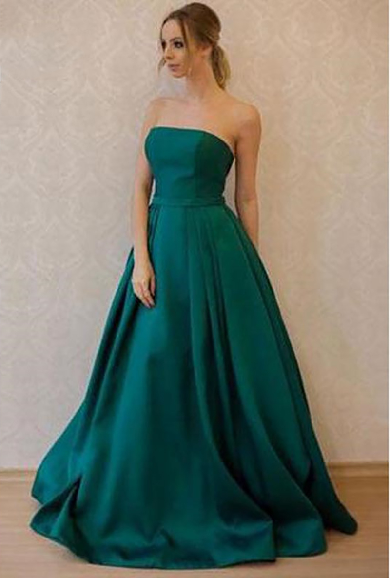 2019 Satin Green   Evening     Dresses   Vintage Formal   Dress   Long Simple Classic   Evening   Gown Vestidos Largos De fiesta