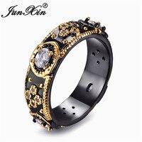 JUNXIN Gothic Oval Zircon Biker Rings For Men Women Black Gold Filled Luxury Plum Flower Ring Male Fashion Jewelry Making