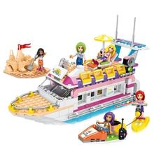 цены 473pcs New Educational Building Blocks Toy Compatible City Friends Series Girls Sea Cruise Ship Party Figures Bricks Kids Gift