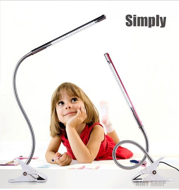 Новая Гибкая USB Clip-на Настольная Лампа LED Зажим Чтение/Исследование/Кровать/Ноутбук/Рабочий Стол Света + адаптер 5 Цвет