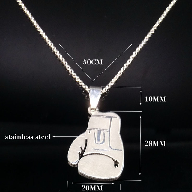 Stainless Steel Cool Boxing Pendant Necklaces For Men Boys Gift Silver Color Boxing Glove Necklace