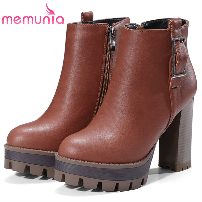 MEMUNIA Spuer heels shoes woman ankle boots for women fashion shoes platform boots contracted PU zip solid large size 34-42 memunia big size 34 43 over the knee boots for women fashion shoes woman party pu platform boots zip high heels boots female