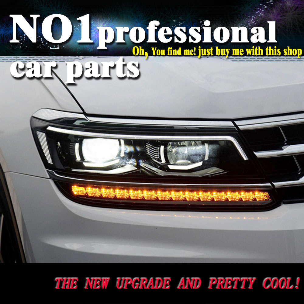 2 Ps Car Headlight 2017 For VW Tiguan headlights For Tiguan head lamp led DRL front Bi-Xenon Lens Double Beam HID KIT headlight headlamp polishing paste kit diy headlight restoration car plastic restore car head light motor cleaner renew lens polish kit