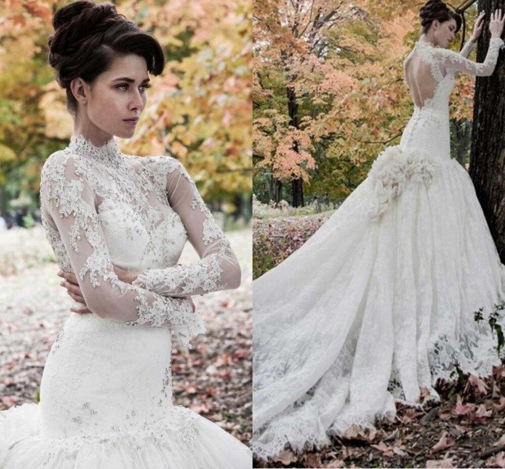 High Neck Mermaid Wedding Dresses Long Sleeves Applique