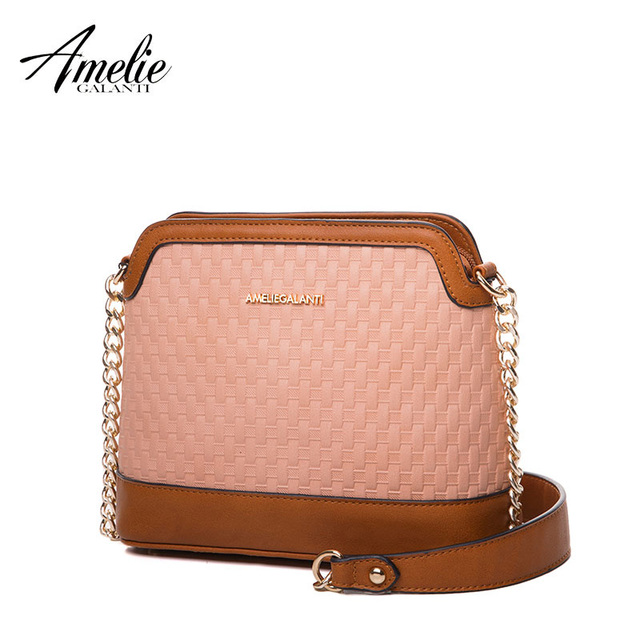 AMELIE GALANTI Women's leather fashion small bag female chain shoulder long strap Patchwork Classic pattern
