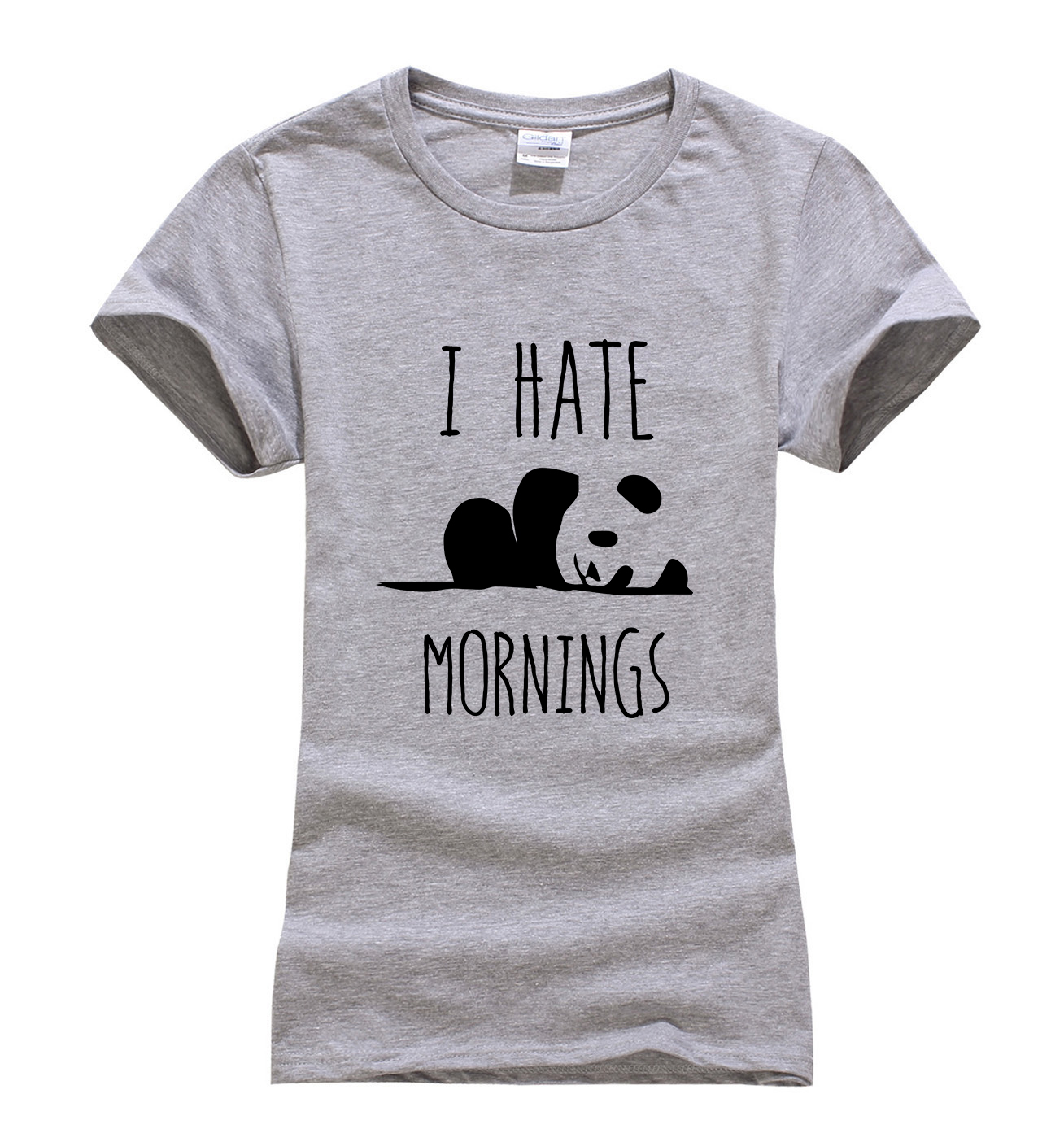 2017 summer i hate mornings cute panda print women t shirt for Cheap t shirt printing no minimum