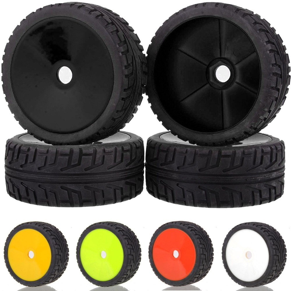 4PCS RC 1/8 OFF-ROAD BUGGY 17MM HEX Wheel Rim & Tyre Tires 81-806 For HSP Red Cat 140mm rubber rc 1 8 monster truck tires sponge insert hex hexagon adapter 17mm for rc off road model
