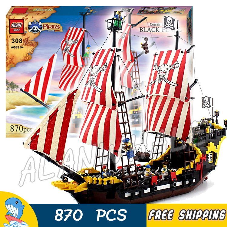 870pcs New Pirates of the Caribbean Brickbeard's Bounty 308 Model Building Blocks Bricks Educational Toys Compatible With Lego qiaoletong city pirates series pirates of the caribbean building blocks sets bricks model kids toys compatible legoing