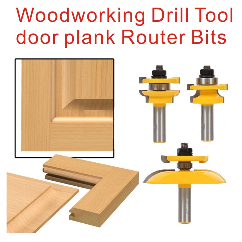 3pieces/set Woodworking Drill Tool door plank Router Bits Set Wood Woodworking Cutter high quailty