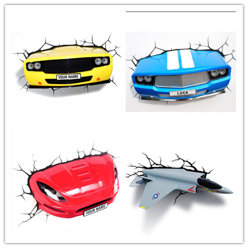 Hot Sell Car series 3D Decoration Wall Lamp Amazing Room Decoration Light Lampada de parede Xmas Gift hot sell sports series 2014 brazil world cup football 3d wall lamp amazing room decoration light lampada de parede xmas gift