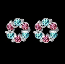 Europe New Color wreath Crystal From Swarovski Earrings For women 925 Jewelry fashion Wedding jewelry(China)