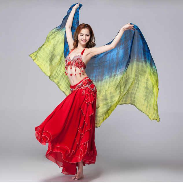 Stage Performance Prop Tie Dye Light Texture 100% Silk Scarf Women Dance Accessories Silk Veil Belly Dance