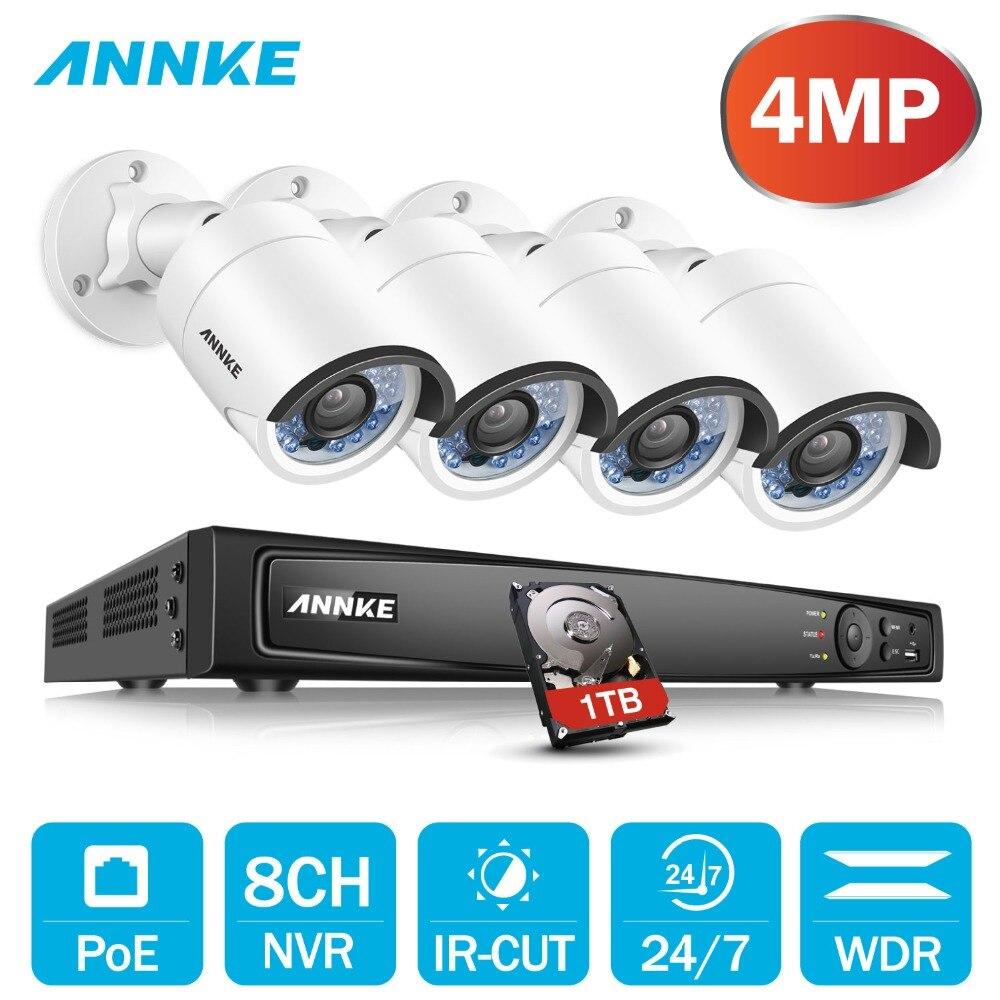 ANNKE 8CH 6MP POE H.264 + sistema de seguridad NVR 4 piezas 4mm 4MP intemperie al aire libre cámara de visión nocturna por infrarrojos p2P Onvif WDR 3D DNR