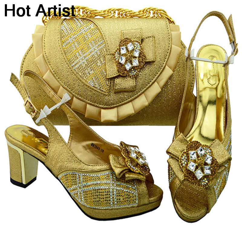 Hot Artist Italian Style Rhinestone Shoes And Bags Set African Fashion Middle Heels 6.5CM Shoes And Bags Set For Party MM1049 italian visual phrase book