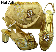 Hot Artist Italian Style Rhinestone Shoes And Bags Set African Fashion Middle Heels 6.5CM Shoes And Bags Set For Party MM1049