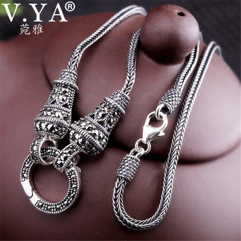 V.YA Thai Silver Long Chain Necklace for Women 925 Sterling Silver Marcasite Stone Pendant Necklaces 1.5mm 60cm 70cm 75cm 80cm