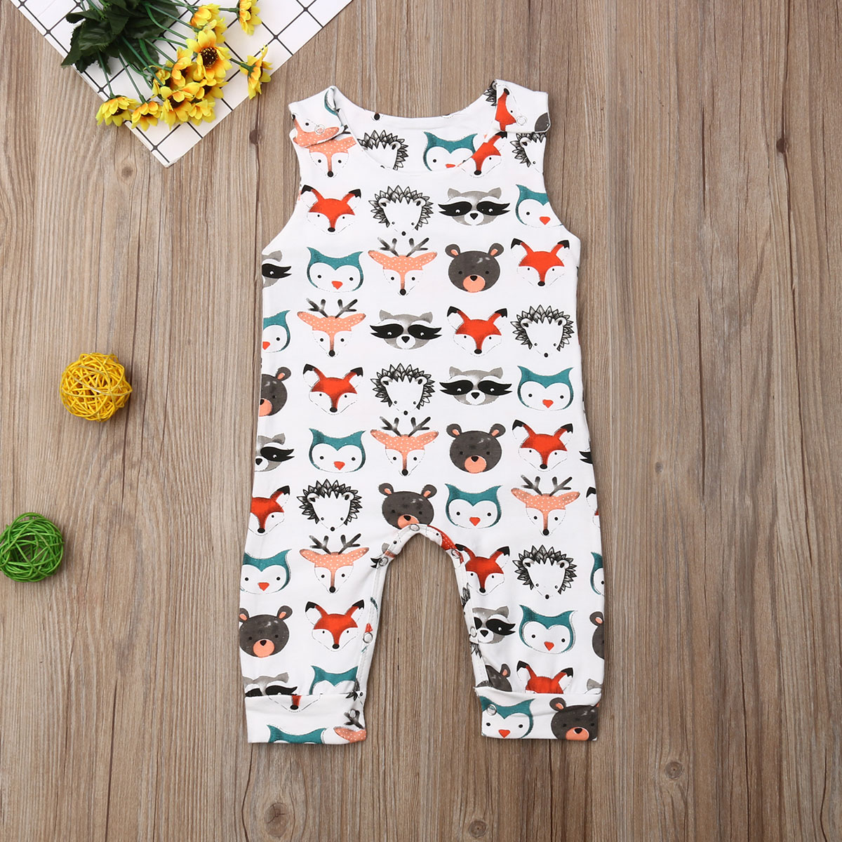 Pudcoco Newborn Baby Boy Girl Clothes Sleeveless Cartoon Animals Print Romper Jumpsuit One-Piece Outfit Sunsuit Clothes
