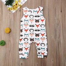 Pudcoco bebê recém-nascido roupas da menina do menino sem mangas dos desenhos animados animais impressão macacão outfit sunsuit roupas