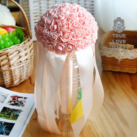 Bridal Bouquet Artificial Foam Rose Flowers Wedding Bouquet With Pearls Rhinestone Lace Satin Ribbons Bow Party