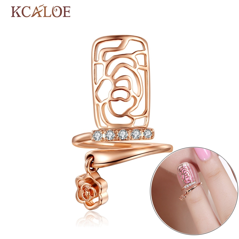 KCALOE Rose Nail Rings For Women Crystal Hollow Flower Silver Plated And Rose Gold Rose Pendant Resizable Punk Finger Nail Ring punk style pure color hollow out ring for women