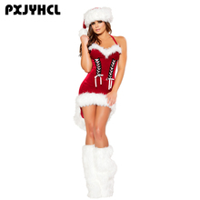 Christmas New Year Costume For Women Red Sexy Dress Adult Female Fancy Cosplay Dresses+Boot+Hat