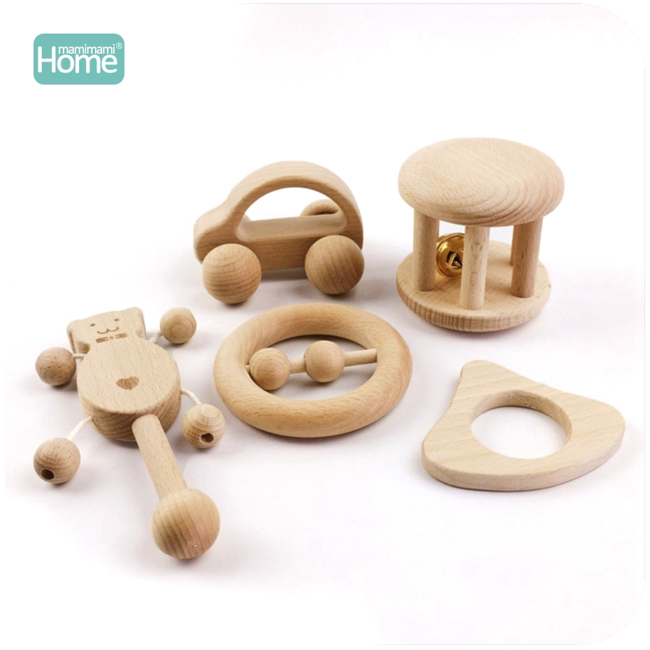 MamimamiHome Wooden Rattles Ontessori Baby Toys Wood Car Block 5PCS Educational Development Baby Rattle Toy BPA Free Toys