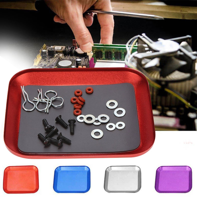 10.6x8.6x1.4cm Square Magnetic Tray Stainless Steel Tool Tray Dish For Screws Parts Machine Repair Storage Tool Color Random